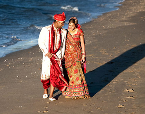 Beautiful lehenga and red and white sherwani