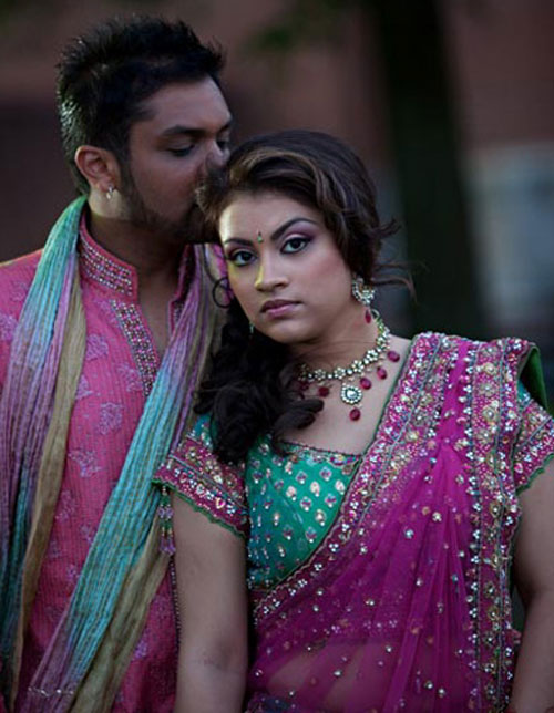 pink lehenga and sherwani