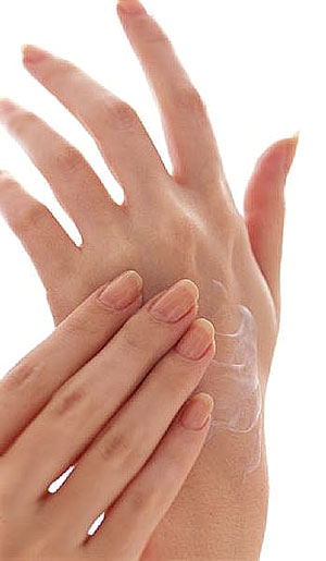 massage hands with cream and water