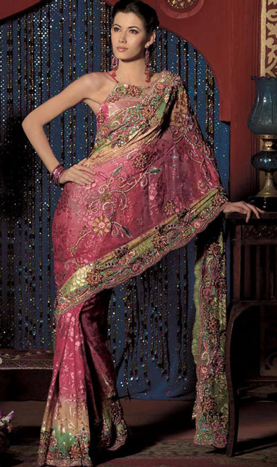 Pink chiffon saree with heavy zari work