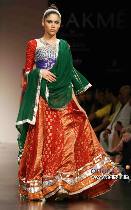 Multi color lehenga choli with green chunni