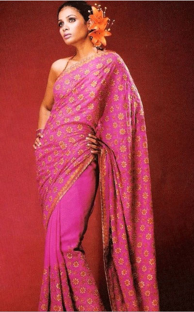 Pink saree with yellow flowers all over