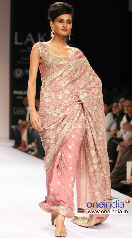 Heavy pink party wear saree