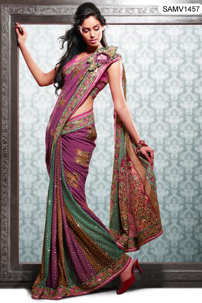 Pink saree with multi colors