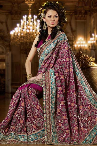 Pink saree with multi color work
