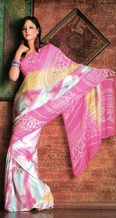 Smart pink saree with prints