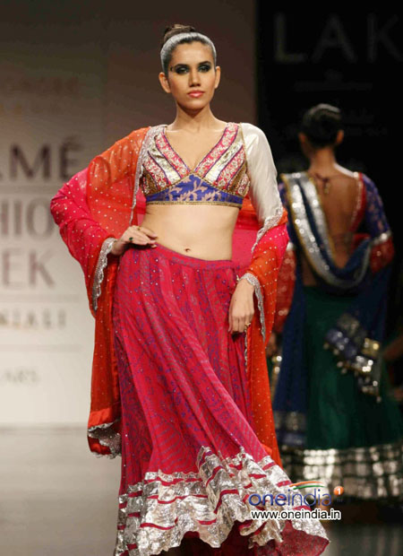 Red bridal lehenga Lakme fashion week 2010