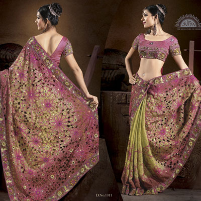 Pink and light green combination saree