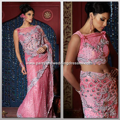 Pink saree with silver colored work done