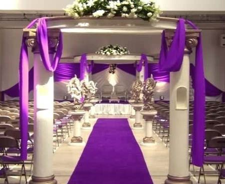 Unique white and purple stage decoration