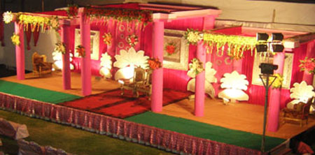 Stage decorated with lot of lovely colours