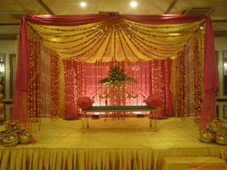 Pink and yellow colored stage decoration