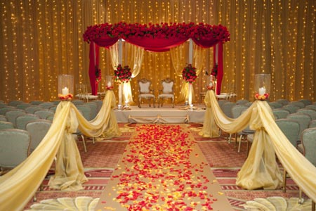 Gorgeous golden red stage decoration