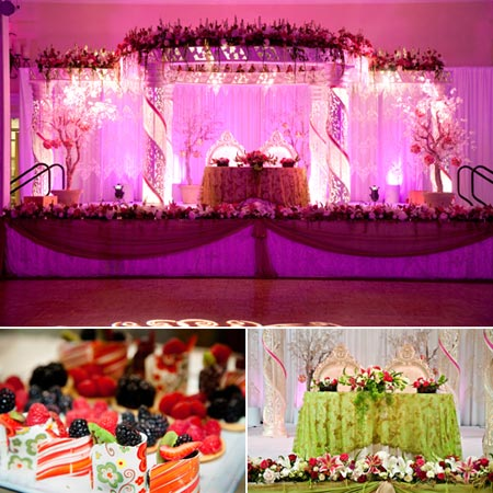 Glittering purple color stage decoration