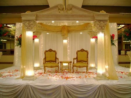 Elegant white and golden stage decoration