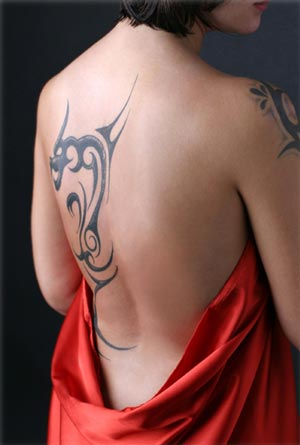 Tattoo on left hand side of your back