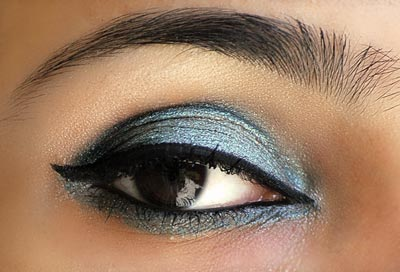 Sky blue and silver look