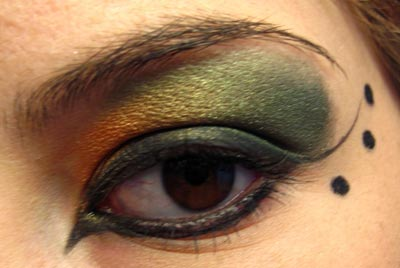 Green and orange eye look