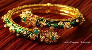 Green kada bangle with studded stones
