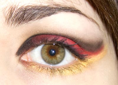 Red black and yellow eye look
