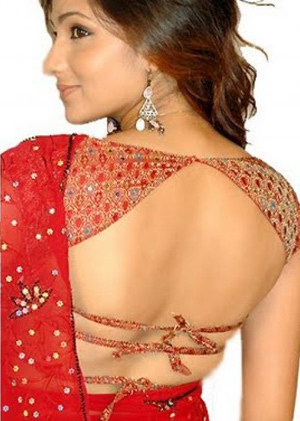 Backless blouse design with 2 strings near the waist