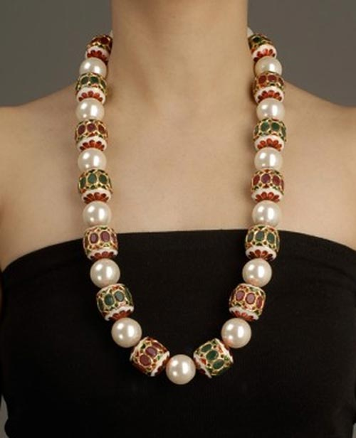 Beautiful Pearl, Green Onyx and Rubilite bead necklace