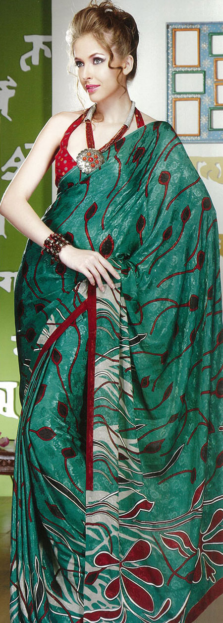 green and red printer saree