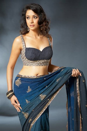 Blue silver anarkali style saree blouse
