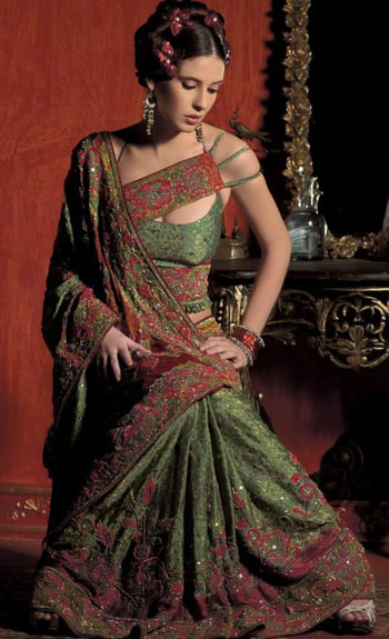 Designer green and red blouse