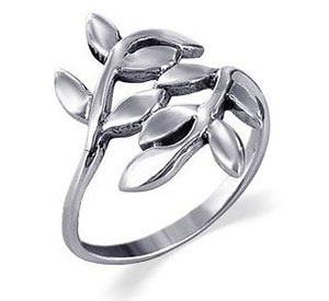 -Cute Ivy Leaf Polished Sterling Silver Band Ring
