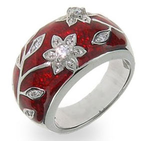 Ruby Red Enamel Ring with Flower Design