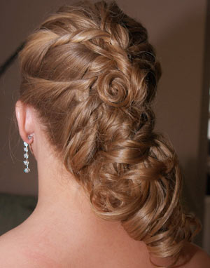 Fashionable hair style with braids and small bun