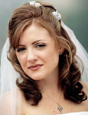 Bridal hair style for medium length curly hair