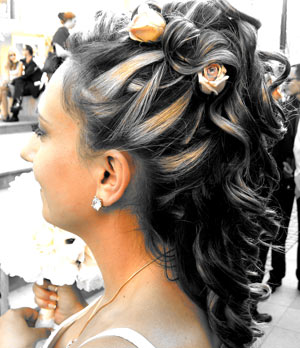 Bridal hair style decorated with flowers