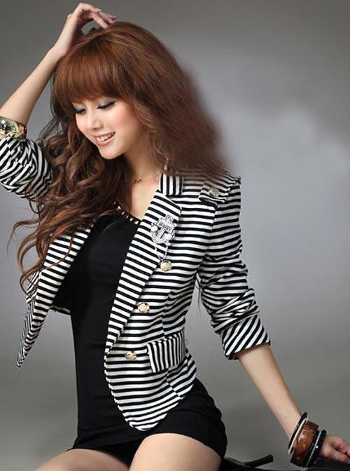 Coat Style Striped Bolero Jacket In Black And White Color