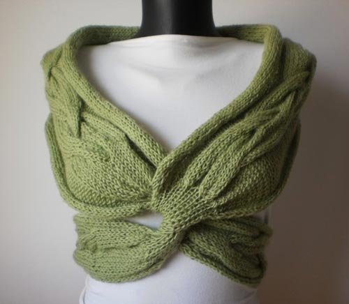 Green Bolero Jacket With Knot Style Tieing