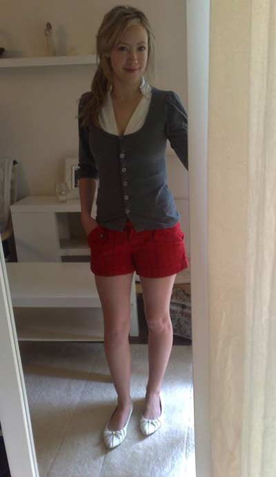 Sexy red shorts with grey top