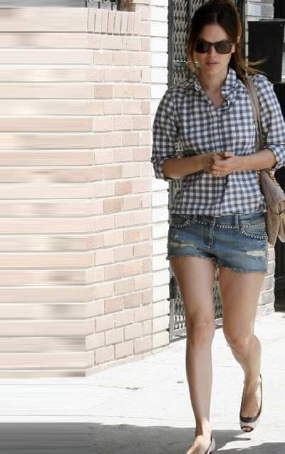 Casual look with jean shorts and checked=