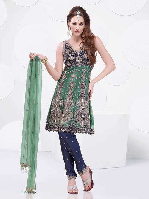 Green and blue salwar suit with amazing embroidery