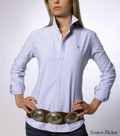 Shirt with a belt on waist