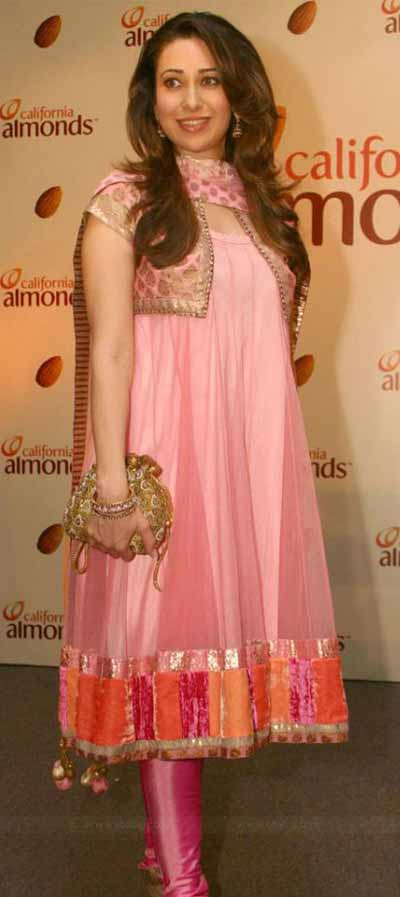 karisma kapoor in lovely pink long anarkali salwar kameez