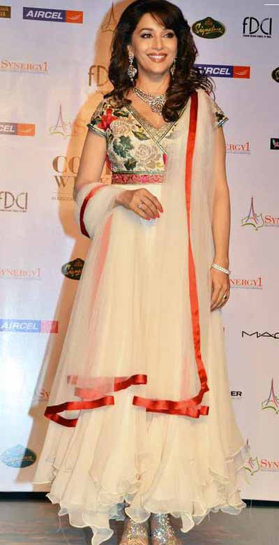 madhuri dixit in long anarkali salwar kameez at Delhi couture week