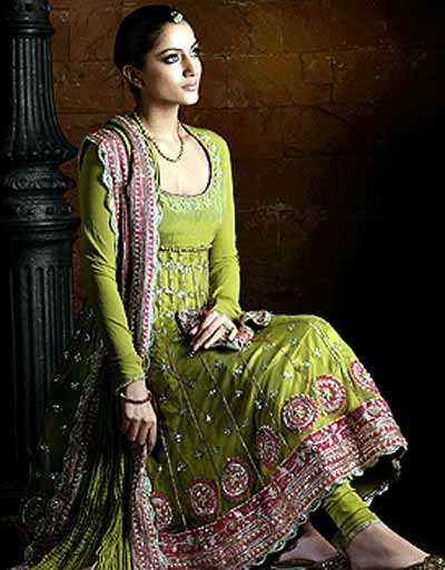 green embroidered Anarkali-suit-designs