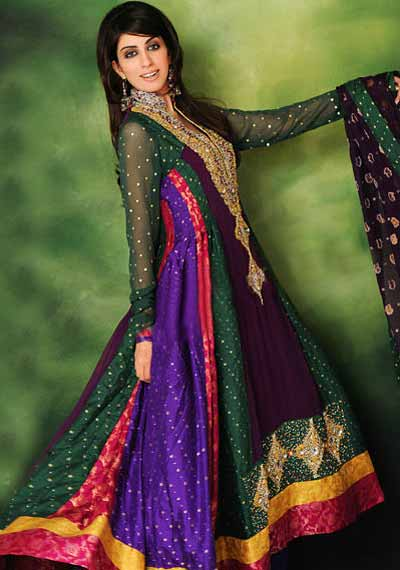 multi colored indian-anarkali salwar kameez