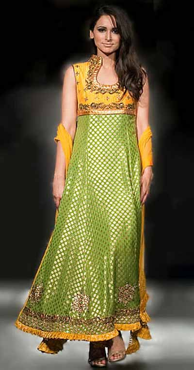 Sleeveless green and yellow anarkali salwar kameez