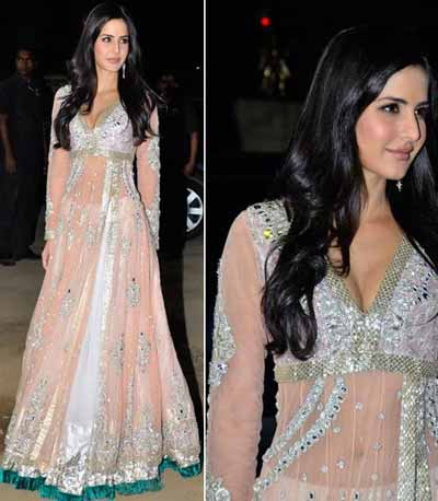 Katrina kaif in light pink embroidered anarkali salwar kameez