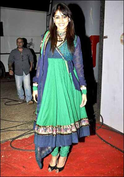 Genelia d'souza in green and blue long anarkali salwar kameez