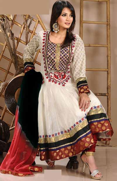 White-and-Maroon-Crepe-Embroidered anarkali salwar kameez