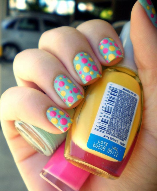 colorful and easy nail art designs for this summer , polka dots nail art