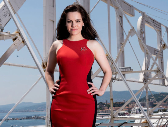 Emily-Hampshire-red body con dress with black sides 19